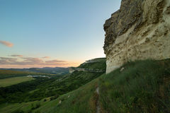 Walls of Cave city Bakla in Bakhchysarai Raion, Crimea. Royalty Free Stock Photography