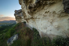 Walls of Cave city Bakla in Bakhchysarai Raion, Crimea. Royalty Free Stock Images