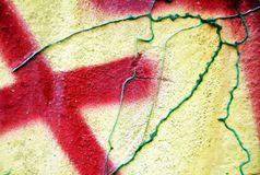 Paint, red yellow green hues on old antique Venetian walls Royalty Free Stock Image