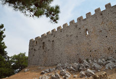 Walls of Chlemoutsi castle. Defensive wall of Chlemoutsi castle Stock Image