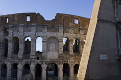 Walls of Colosseum ruins Stock Photo