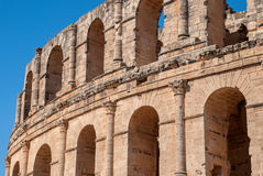 Walls of the Colosseum in Tunisia, El Jem stock images