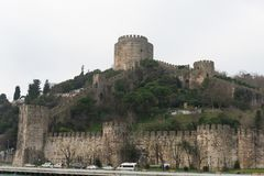 Walls of Constantinople, Istanbul, Turkey. The Walls of Constantinople are a series of defensive stone walls that have surrounded and protected the city of stock image