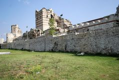 Walls of Constantinople. And towers stock images