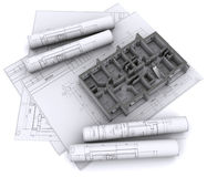 Walls on construction drawings Royalty Free Stock Images