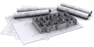 Walls on construction drawings Stock Image