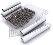 Walls on construction drawings Stock Photos