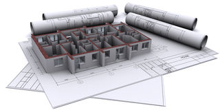 Walls on construction drawings Royalty Free Stock Photos