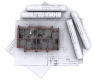 Walls on construction drawings Royalty Free Stock Photography