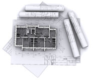 Walls on construction drawings Royalty Free Stock Image