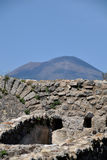 Walls an d Vesuvius, Pompeii Archaeological Site, Naples, Italy Royalty Free Stock Photos