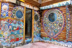 Walls decorated with colorful mosaic design throughout the building at Pha Sorn Kaew, Khao Kor, Phetchabun, Thailand. Walls decorated with colorful mosaic stock photo
