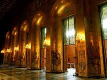 Walls decorated by golden mosaics of the Golden Hall, where the Nobel Prize ceremonies take place every year, Stockholm City Hall Royalty Free Stock Photo
