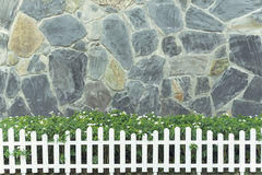Walls decorated with green trees and white fence. Stock Image