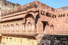 Walls and Different parts of Mehrangarh Fort, Rajasthan Stock Image