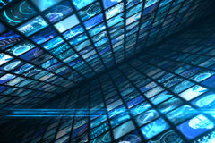 Walls of digital screens in blue Royalty Free Stock Images