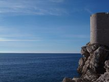 Walls of Dubrovnik. And the blue sea Stock Photo