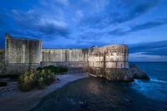 Walls of Dubrovnik at Dusk stock photo