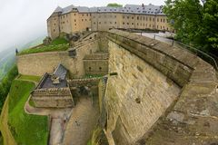 Walls and entrance to the fortress of Koenigstein in Saxony, Germany. royalty free stock images
