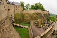 Walls and entrance to the fortress of Koenigstein in Saxony, Germany. royalty free stock photos