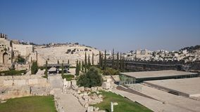 The walls of the eternal city of Jerusalem, outside view, clear day, blue sky stock photo