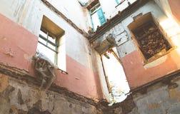 Walls and facade of abandoned building. Walls and facade of an old ruined abandoned building stock photos