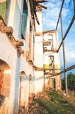 Walls and facade of an ruined abandoned building. Walls and facade of an old ruined abandoned building stock images