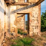 Walls and facade of an ruined abandoned building. Walls and facade of an old ruined abandoned building stock photos