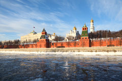 Walls of famous Kremlin and Ivan Great Bell Tower Stock Photos