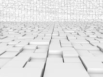 The walls and floor of the white cubes №1 Stock Photo