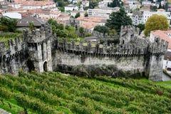 The walls of fort Castelgrande at Bellinzona on the Swiss alps. Unesco world heritage Stock Photos