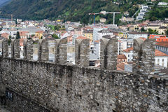 The walls of fort Castelgrande at Bellinzona on the Swiss alps Royalty Free Stock Photo