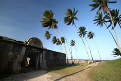 Walls fort in Morro do Sao Paulo, Bahia. Brazil.  royalty free stock photo