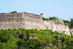 Walls of a fortress on a hill Royalty Free Stock Photos