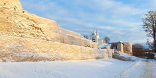 The walls of fortress the Old Izborsk Stock Photo