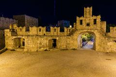 Walls of the fortress  Rhodes night  the summer. Greece Royalty Free Stock Image