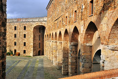 Walls of the fortress in Savona. Courtyard of the fortress in Savona Stock Image