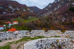 Walls of the fortress. The stone walls of the fortress in city of Travnik in Bosnia and Herzegovina Stock Image