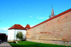 Walls of the fortress in the town Targu-Mures, Romania. The first fortress in the town was erected in 1492 upon order of Transylvanian voivode Stephen Báthory royalty free stock photography