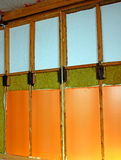 Walls of a frame house with different types of heat insulation. Construction of walls of a frame house with different types of heat insulation royalty free stock image