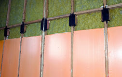 Walls of a frame house with different types of heat insulation. Construction of walls of a frame house with different types of heat insulation stock image