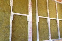 Walls of a frame house with different types of heat insulation Stock Images