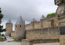 Walls of French town Carcassonne Royalty Free Stock Images