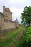 Walls of French town Carcassonne Royalty Free Stock Photos