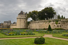 Walls and gardens in Vannes, Brittany, France. Medieval walls and gardens of  Vannes, Brittany, France Royalty Free Stock Images