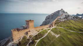 Walls of the Genoese Fortress stock footage