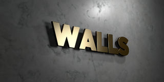 Walls - Gold sign mounted on glossy marble wall  - 3D rendered royalty free stock illustration. This image can be used for an online website banner ad or a Royalty Free Stock Photos