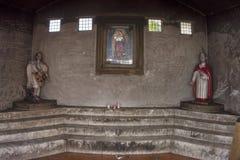 Walls of graffiti inside church chapel Royalty Free Stock Image