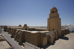 Walls of the Great Mosque of Kairouan. The Great Mosque of Kairouan, also known as the Mosque of Uqba, is one of the most important mosques in Tunisia, situated Stock Images