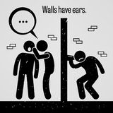 Walls have Ears. A motivational and inspirational poster representing the proverb sayings, Walls have Ears with simple human pictogram vector illustration